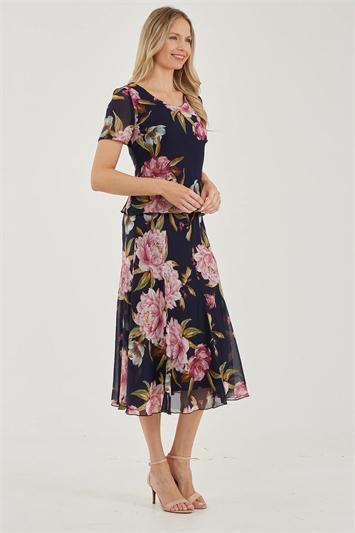 Juliana Floral Chiffon Panel Skirt