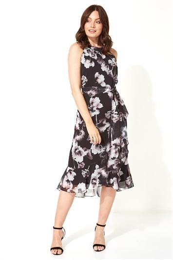 Halter Neck Floral Frill Dress