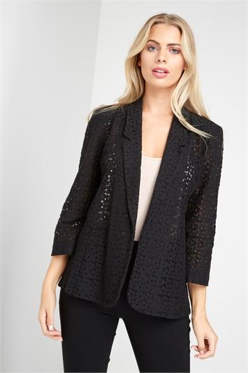 Black 3/4 Sleeve Lace Jacket, Image 1 of 5