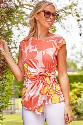 Ruched Side Floral Print Top
