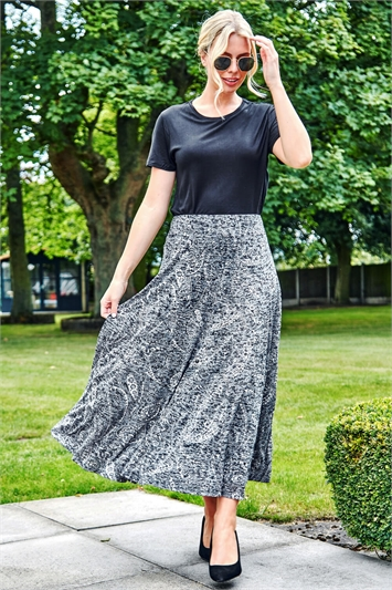 Paisley Print Burnout Midi Skirt