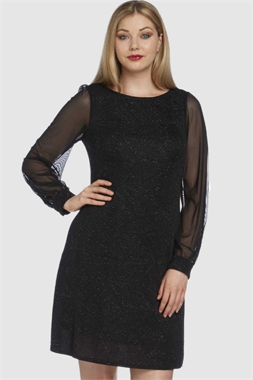 Glitter Sparkle Chiffon Sleeve Dress