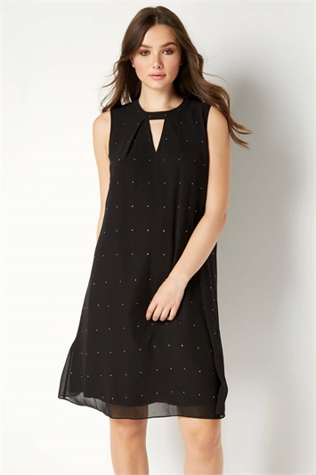 Embellished Keyhole Swing Dress