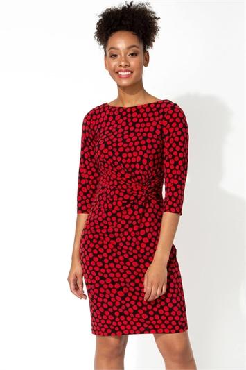 Spot Twist Waist Dress