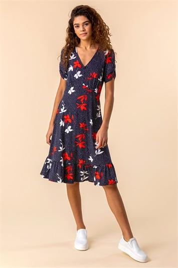 Floral Spot Print Frill Hem Dress