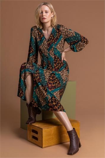 Dark Green Patchwork Fit & Flare Midi Dress