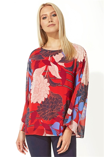 Floral Overlay Chiffon Top