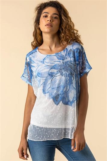 Blue Mesh Overlay Floral Print T-Shirt