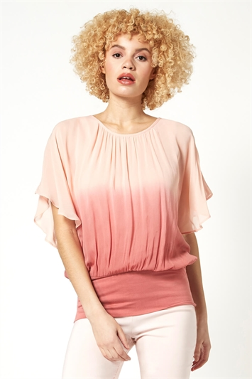 Ombre Batwing Overlay Top