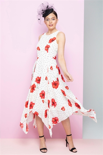 Spot Floral Poppy Print Hanky Hem Midi Dress