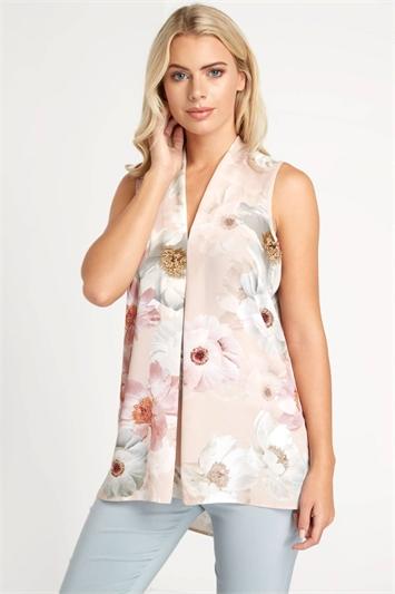 Floral Print Pleat Top