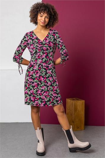 Black Ruched Floral Print Jersey Dress, Image 1 of 5