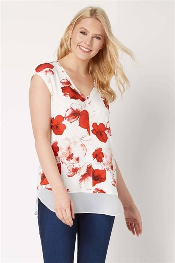 V-Neck Poppy Print Chiffon Hem Top