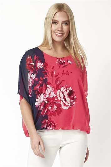 Floral Contrast Print Bubblehem Top