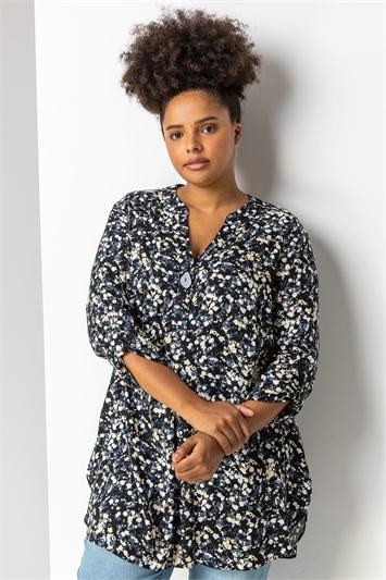 Black Curve Floral Print Tunic Top