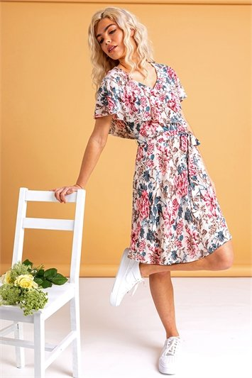 Ivory Floral Frill Sleeve Belted Dress