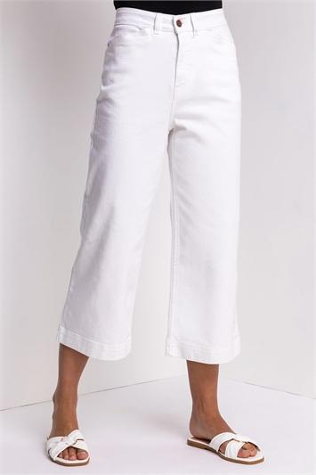 White Denim Wide Leg Culottes
