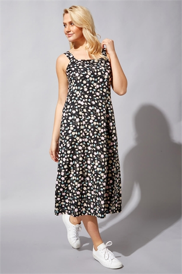 Floral Wide Strap Midi Dress