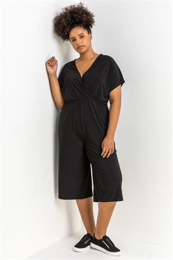 Black Curve Wrap Culotte Jumpsuit