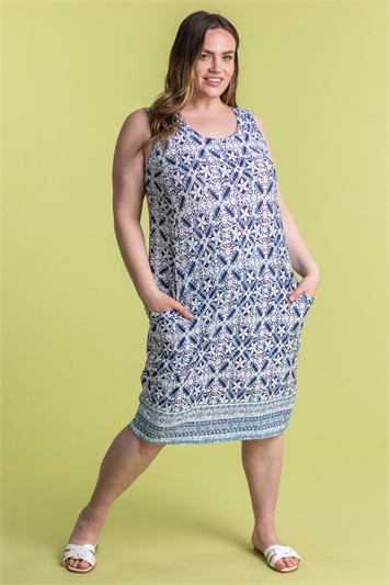 Curve Geo Print Cocoon Dress
