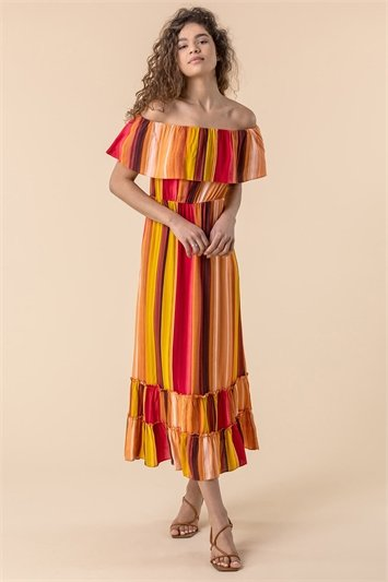 Striped Ruffle Bardot Maxi Dress