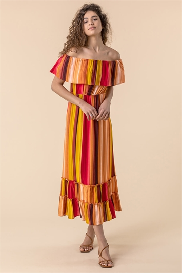 Multi Striped Ruffle Bardot Maxi Dress