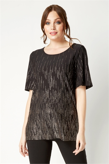 Short Sleeve Glitter Embellished Top