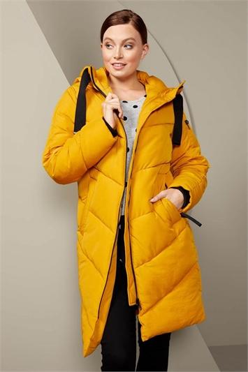 Amber Chevron Padded Longline Coat