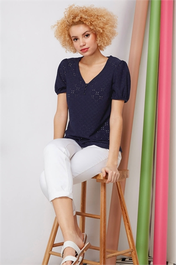 Button Detail Broderie Embroidered Top