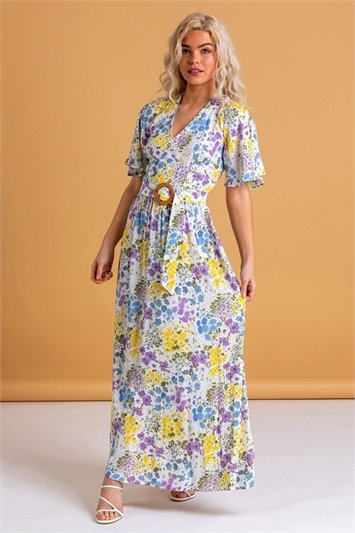 Multi Floral Belted Maxi Dress
