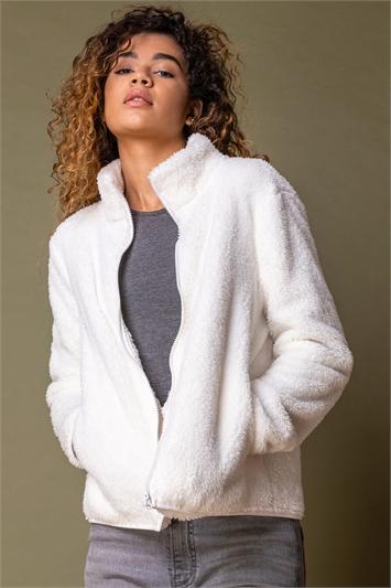 Ivory Soft Sherpa Fleece Jacket