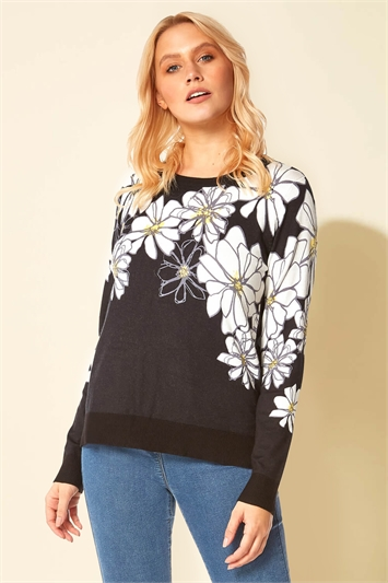Daisy Print Long Sleeve Jumper