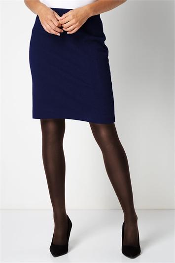 Navy Short Textured Jersey Skirt