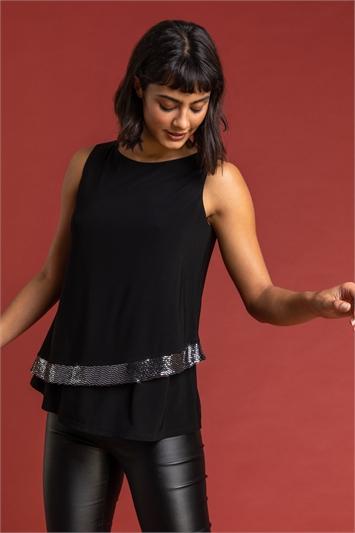 Black Shimmer Contrast Hem Vest Top