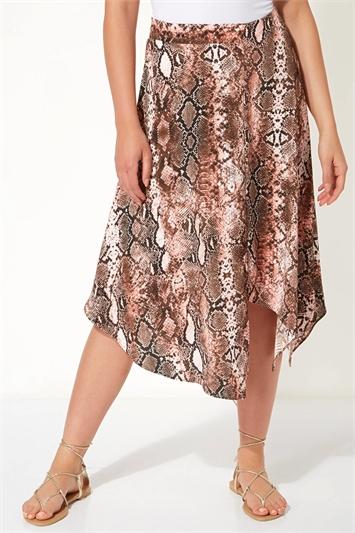 Asymmetric Snake Print Skirt