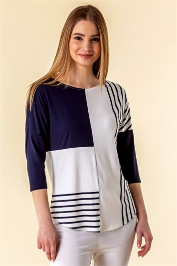 Stripe Print Colourblock Top