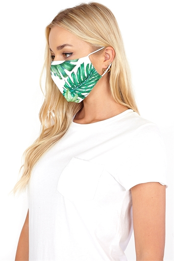 Green Tropical Print Fast Drying Fashion Face Mask