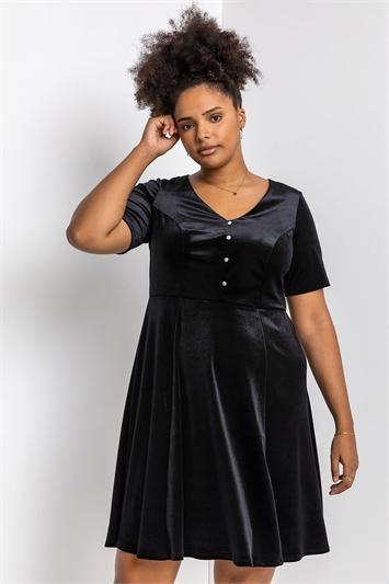 Black Curve Diamante Button Velvet Dress, Image 1 of 4