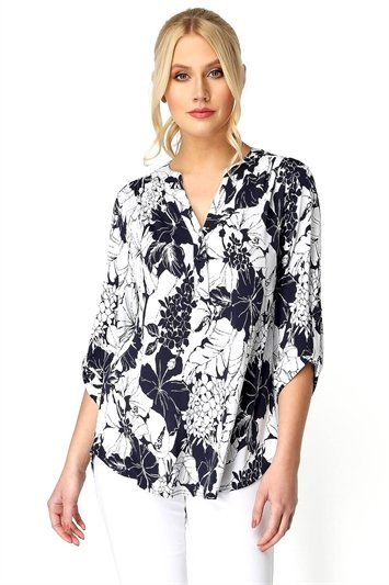 Floral Print 3/4 Sleeve Button Through Top