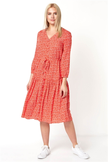Red Floral Print Tiered Skirt Midi Dress, Image 1 of 4