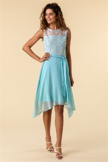 Aqua Lace Detail Fit And Flare Dress, Image 1 of 4