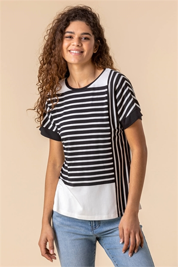 Contrast Stripe Print Top