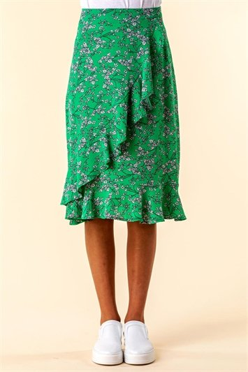 Green Ditsy Floral Ruffle Detail Skirt