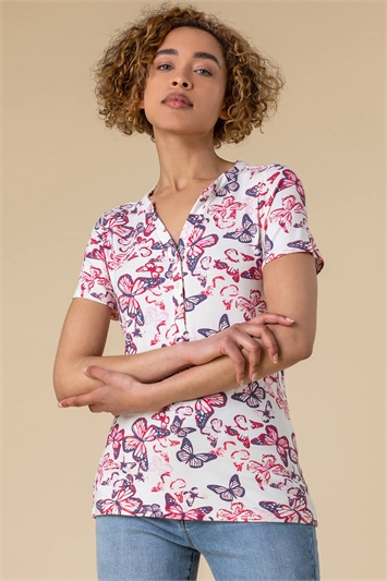 Butterfly Print Button Top