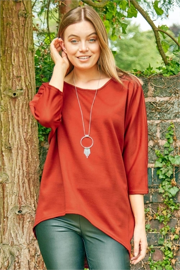 Necklace Detail Batwing Slouch Lounge Top