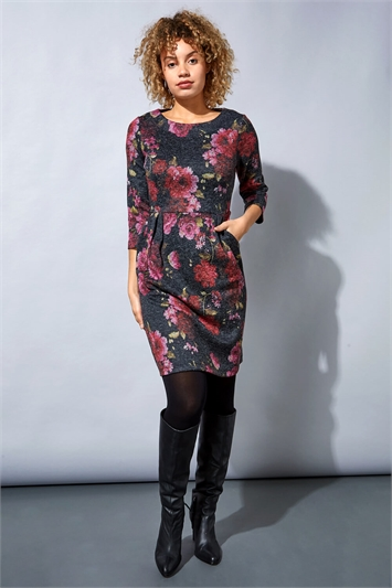 Woolly Touch Floral Print Shift Dress
