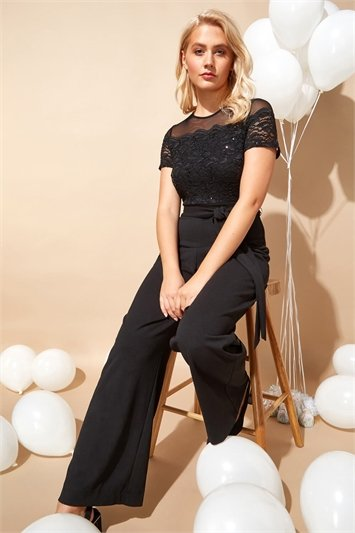 Lace Bodice Wide Leg Jumpsuit