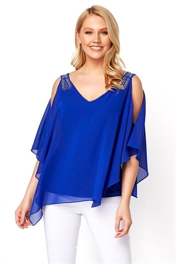 Embellished Cold Shoulder Overlay Top
