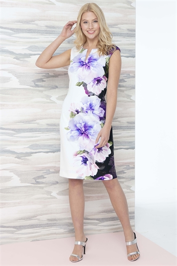 Placement Floral Print Scuba Dress