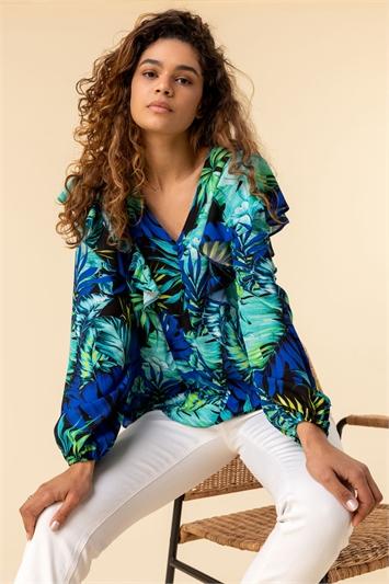 Palm Print Frill Sleeve Top